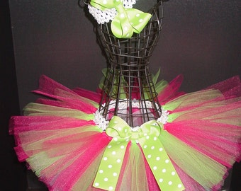TuTu Skirt and Headband Two Piece Set Newborn to 12 Month Custom Hot Pink & Lime Green Polka Dots Baby Infant