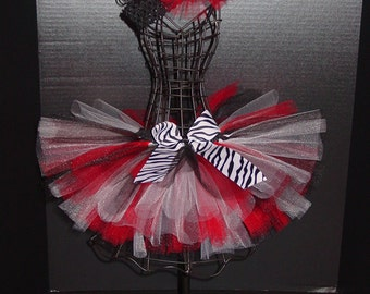 TuTu Skirt ONLY      White & Black Zebra with Red or Custom Color NB - 6 Months