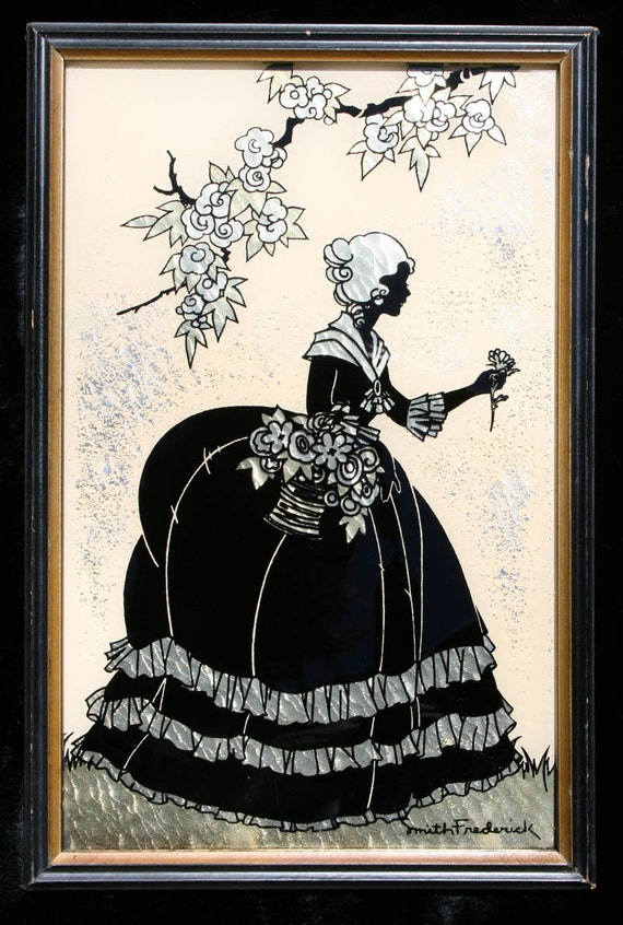 Vintage Silhouette Picture Signed Smith Frederick Old Fashioned Garden