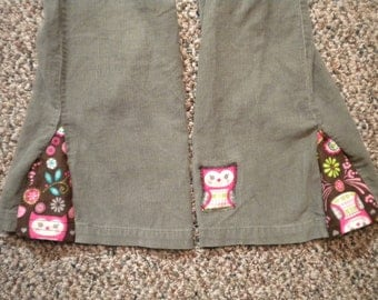 Girls Upcycled Light Sage Green Corduroy Pants  - Size 6X - Owl Motif Flared Leg, Owl Patch, and Owl Pocket