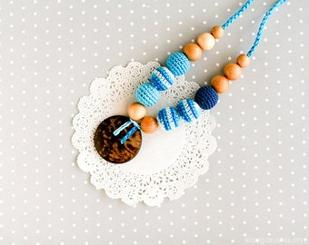 Nursing necklace with coconut button pendant - turquoise stripes Breastfeeding necklace gift under 25
