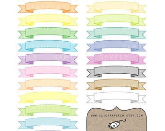Ribbon Banner Clipart Set SALE For Scrapbooking, Invitations, Cards