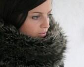 Plush black faux fur cowl