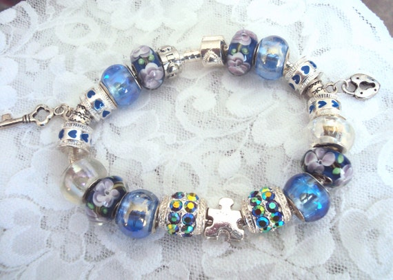 Pandora Inspired Silver Autism Puzzle Charm Bracelet, Blue & Purple Murano Glass Beads, Austrian Crystal