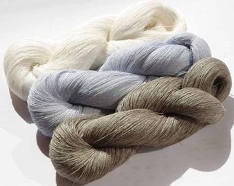 Hanks of natural Linen yarn 300gr 100% pure linen