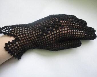 SALE Crochet black gloves, black accessory, women gloves, crochet accessory