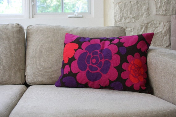 Mod Flower Print Sofa Pillows - Pink, Purple, Red, Black