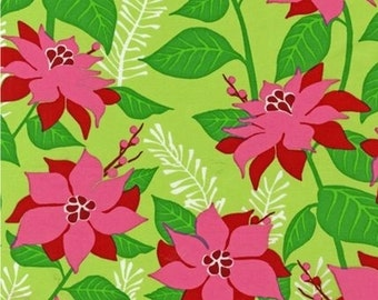 SALE - Sparkle All The Way Poinsettia Celebration Fabric - by Robert Kaufman