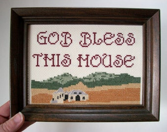 Gob bless this house -- funny cross stitch, inspired model home development