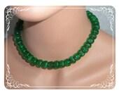 Emerald Green Molded Glass Art Deco Czech Beaded Necklace  2859ag-101009040