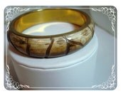 Brown/Tan Plastic Bangle - Vintage Bamboo Style  1383a-042812000