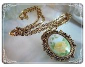 Yellow Rose Porcelain Pendant & Skinny Chain   1241ag-012312000