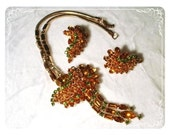 1960's  Rhinestone Necklace & Earring Amber Goldtone Set  1717ag-012312000