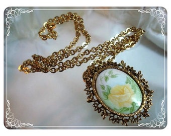 Yellow Rose Porcelain Pendant & Skinny Chain   1241ag-012312000