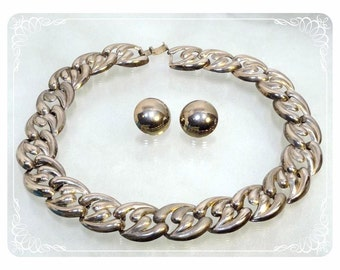 Bold Silver Tone Twisted Wide Chain Necklace and Half Sphere Earrings   -  1775a-121012000