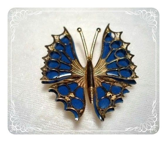 Unique Blue Enameled Butterfly Brooch  1851ag-040810000