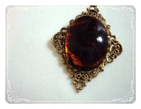 Diamond Shaped Art Glass Cameo Brooch Pendant   1250ge01002012