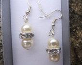 Swarovski Elements cream pearl and crystal Earrings, Wedding earrings, Sterling silver earrings