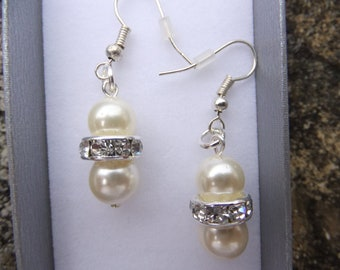 Swarovski Elements cream pearl and crystal Earrings, Wedding earrings, Sterling silver earrings