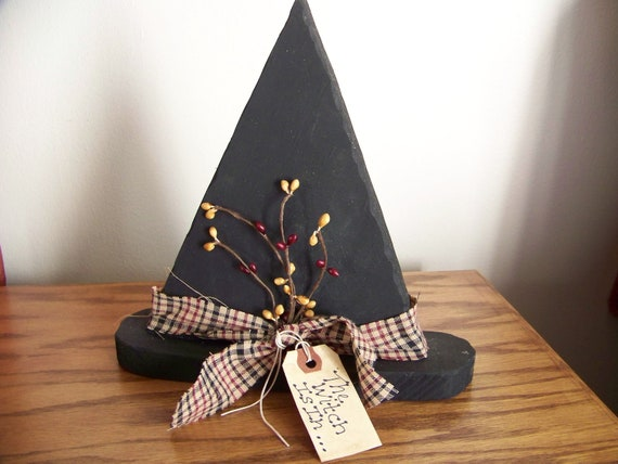 Primitive Wood Witch Hat with Burgundy and Black Band and Pip Berries