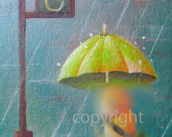 Rainy day----original acrylic giclee art print