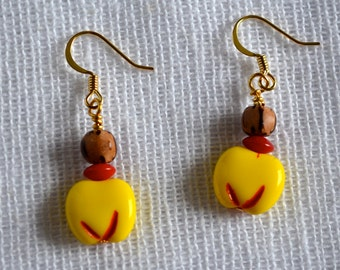 """Retro Inspired Yellow """"Berry,"""" Coral, and Wood Beaded Dangle Earrings"""