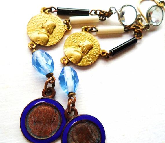 Joan of Arc Blue Enamel Vintage Medal Earrings Religious Catholic Repurposed Assemblage Upcycled Jewelry OOAK - Lourdes - Virgin Mary