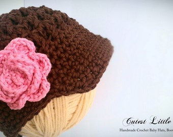 Crochet Baby Girl Hat, Brown Newsgirl Baby Hat with Pink Flower ,Newborn Photo Prop, Fall