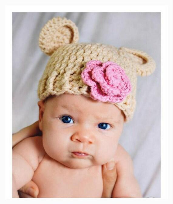 Baby Girl Hat - Crochet Baby Hat - Baby Bear Hat with Pink Flower -  Newborn Photo Prop - Newborn Flower Hat