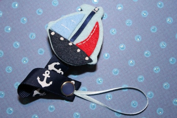 Nautical Soothie Baby Pacifier Clip