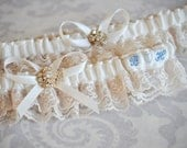 Bridal Garter Set, Something Blue Champagne and Ivory Vintage Style Garters with Custom Initials, Lace Garters - 101G