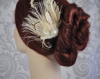 Ivory Peacock Feather Fascinator - Ivory Bridal Hair Accessory with Feathers, Hair Clip, Blush Pink Bridal Accessories - 111HP
