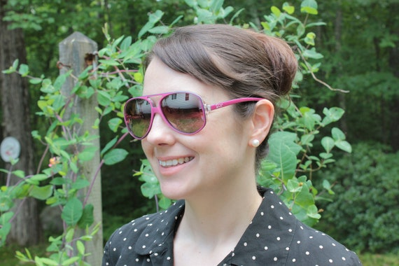 vintage PINK Aviator sunglasses SOLA lens 80's lion in the sun Hipster boho eyewear new old stock