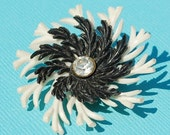 Vintage Jewelry Making Supplies, Crafts, Destash- Single Earring, Black White Celluloid Pinwheel Flower, Rhinestone,1940s WWII