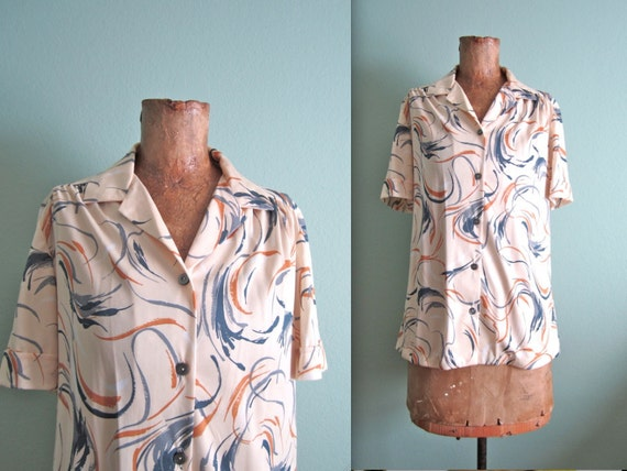 1950s blouse/ 50s short sleeve button up shirt/ abstract print S-M