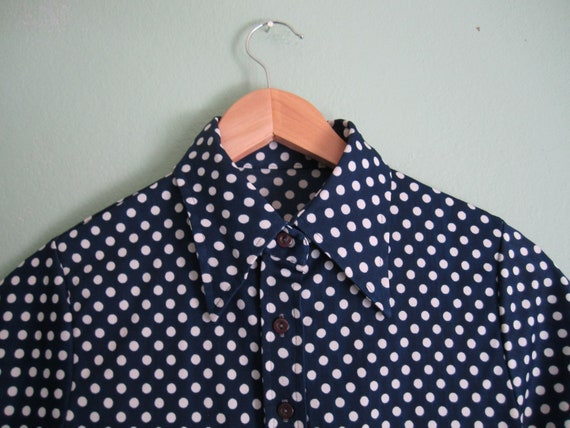 "SALE 24% off use code ""birthdaygirl 1970s blouse/ vintage polka dot short sleeve shirt/ navy blue polka dot blouse S"