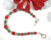 Christmas Bracelet with Ruby Czech Glass, Red and Olive Glass Pearls, and Silver Plated Findings