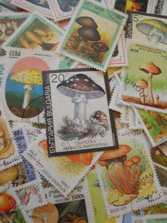 Vintage Foreign Mushroom Stamps