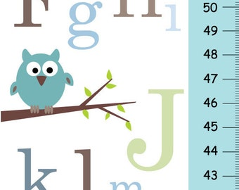 Alphabet owls on tree Children Growth Chart - blue
