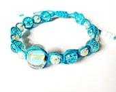 Lime Green Blue Crackle Turquoise Hemp Bracelet