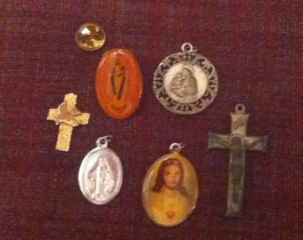 Destash: Catholic Medallions, Crucifix, Medals and a Cross with Dove Prayer Token 6 in All