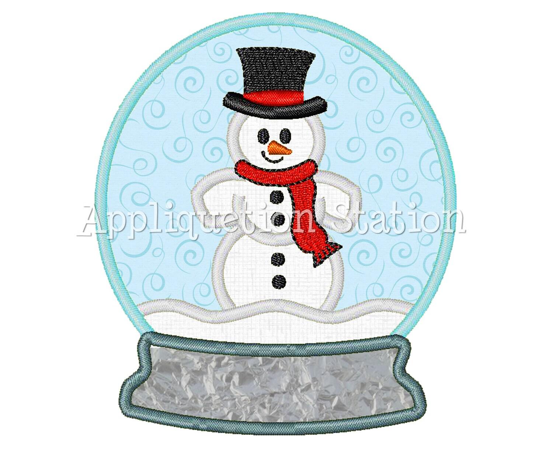 Snow globe snowman applique machine embroidery design