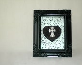Silver Cross Jewelry Framed Art//Black Frame//Black and White//Mixed Media Art
