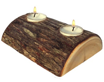 Half Log Candle Holder, Candle Centerpieces, Log Centerpiece, Rustic Candle