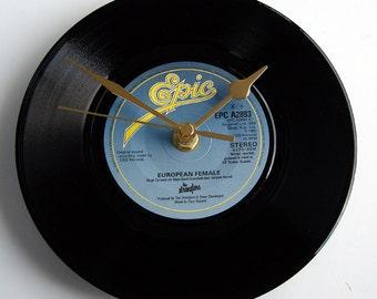 "The STRANGLERS Vinyl Record CLOCK. ""European Female""  Recycled 7"" record. Punk Rock Clock"