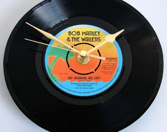 "Bob Marley and The Wailers Vinyl Record CLOCK from recycled 7"" single ""No Woman No Cry"" gift for Reggae Ska fan island jamaica sunset gift"