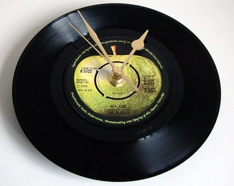 """The Beatles Vinyl Record CLOCK """"Hey Jude"""" made from a recycled 7 inch single on the Apple Label, Great gift for fans, dad, brother, husband"""