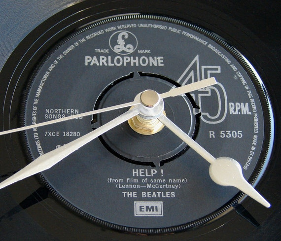 """The BEATLES Vinyl Record CLOCK from original recycled 7"""" record. """"Help"""". Other Beatles tracks also available...."""