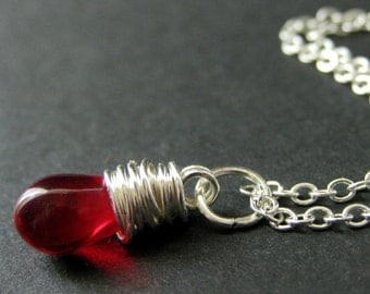 Red Teardrop Necklace in Silver. Bridesmaid Necklace. Wire Wrapped Teardrop Pendant. Handmade Jewelry.
