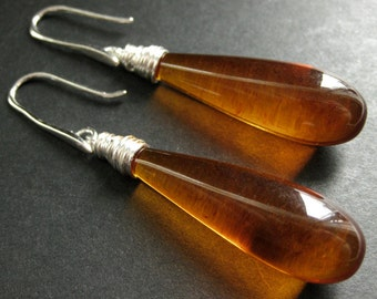 Long Earrings. Amber Earrings. Extra Long Teardrop Earrings Wire Wrapped in Silver. Handmade Jewelry.
